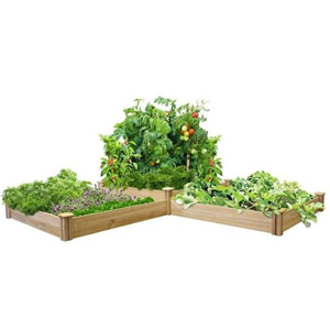 Two-tier raised-garden kit with three boxes filled with plants. photo