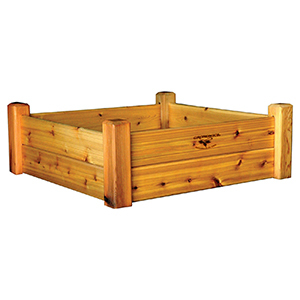 Gronomics raised garden bed in red cedar finish photo