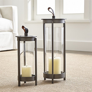 Aluminum decorative lanterns with leather strap at the top photo