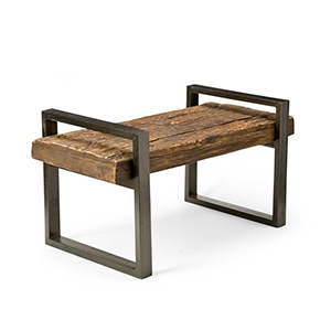 Reclaimed wood and iron outdoor bench photo