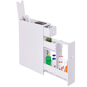 White narrow floor cabinet with pull out drawers photo