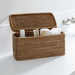 Rattan tote with a lid from Crate and Barrel photo