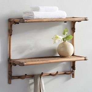 Rattan wall-mount shelf with two shelves and four hooks at the bottom photo