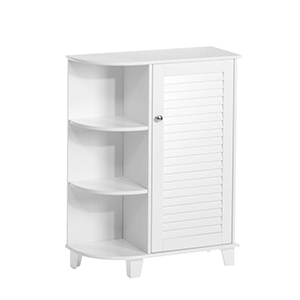 White bathroom storage floor cabinet with open shelves on the side photo