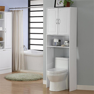White freestanding linen cabinet with open shelf and two double doors at the top photo