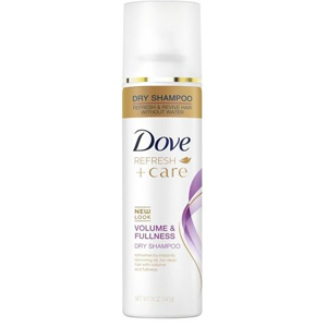 Can of Dove volume and fullness dry shampoo. photo