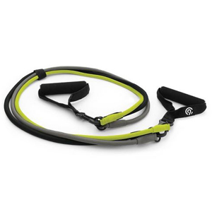 Black, gray and yellow resistance band. photo