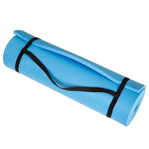 Blue exercise mat with black straps. photo