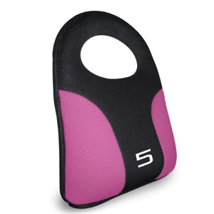 Black and pink five pound kettlebell. photo