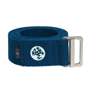 navy blue yoga strap with frog logo on the front. photo