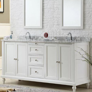 Overstock double vanity with white cabinets and a marble countertop photo