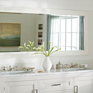 Pottery Barn double wide mirror with white trim photo