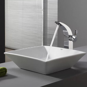White square bathroom sink with silver faucet photo