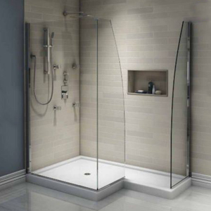 Glass stand-up shower in an L-shape photo