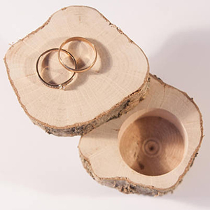 Wooden ring box carved from a hazel tree photo