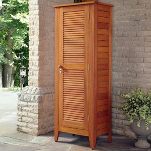 Wooden one door storage cabinet that can have four shelves or no shelves. photo