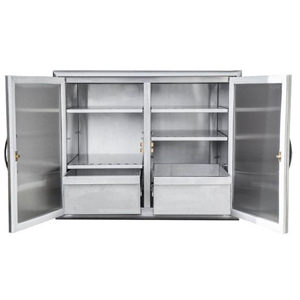 Stainless steel cabinet with slide-out drawers and shelves for storing food outdoors. photo