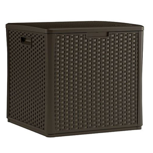 Wicker storage cube for outdoor use. photo