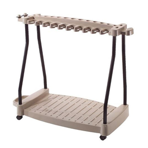Tan storage cart that can hold yard tools and has wheels for easy transportation. photo