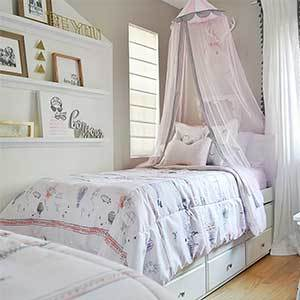 Bed, cotton sheets, and decorative pillows from Better Homes & Gardens photo