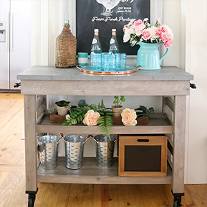 Rolling cart and galvanized copper tray from Better Homes & Gardens photo