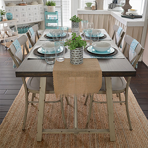 Better Homes & Gardens dining table, chairs, and melamine bowls photo