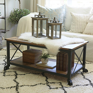 Coffee table, lanterns, and shag area rug from Better Homes & Gardens photo