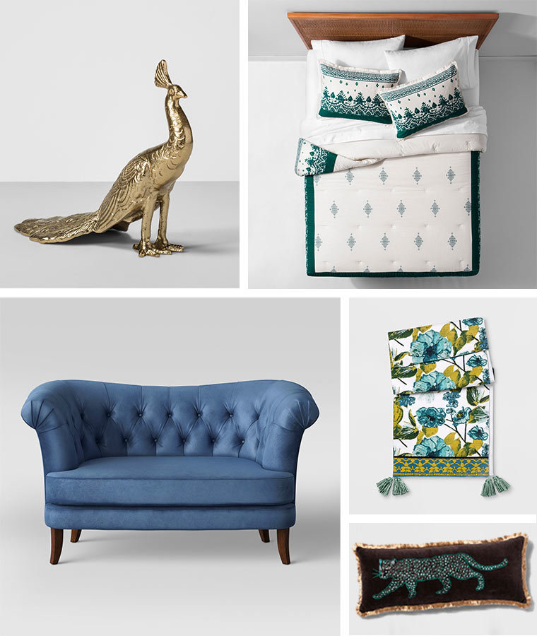 Collage of home products including a gold peacock figurine, teal and white bed set, light blue loveseat, floral table runner, and reversible throw pillow photo