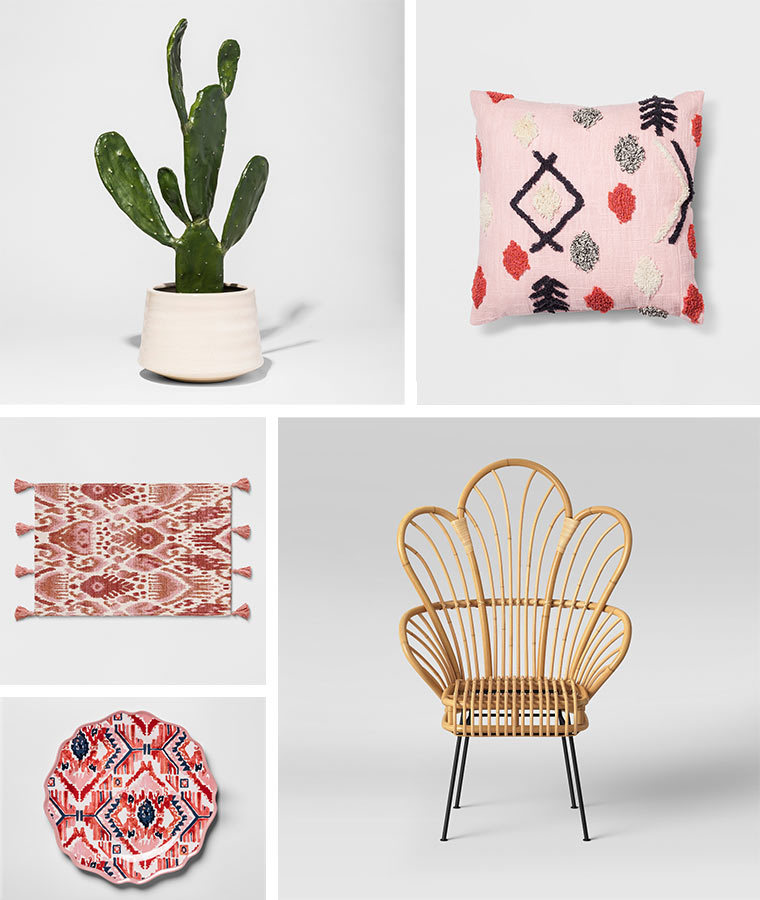 Collage of home products including a faux cactus plant, pink tribal throw pillow, ikat tassel area rug, ikat dinner plate, and rattan accent chair photo