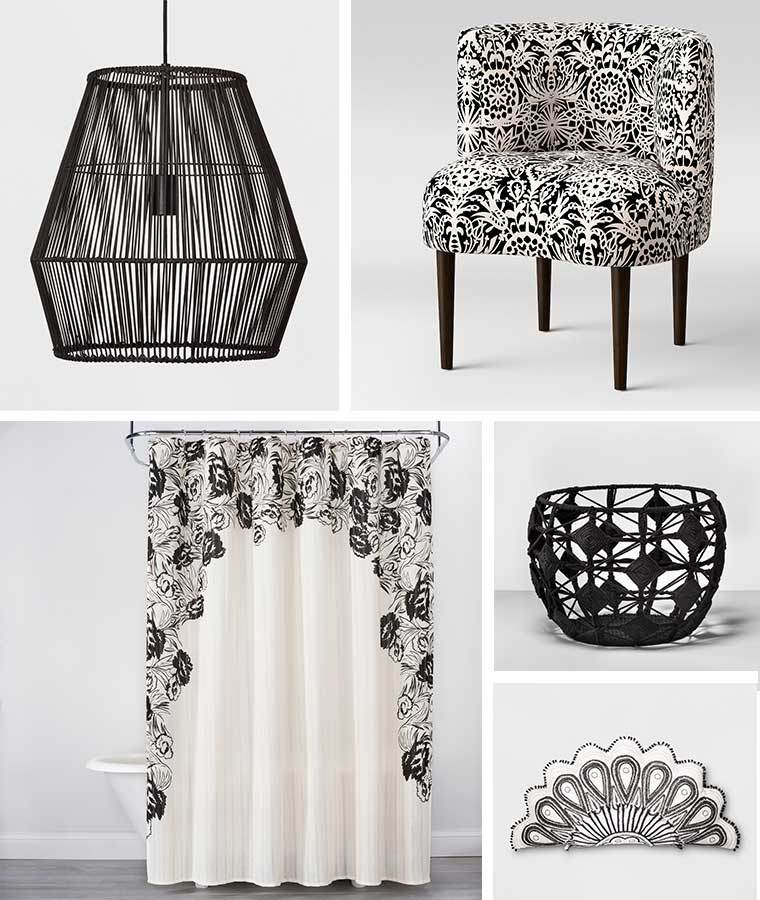 Collage of black and white home products including a diamond rattan ceiling light, printed accent chair, floral shower curtain, macrame basket, and mallorca-shaped pillow photo