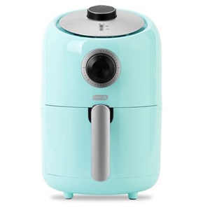 Blue air fryer with stainless steel and black details. photo