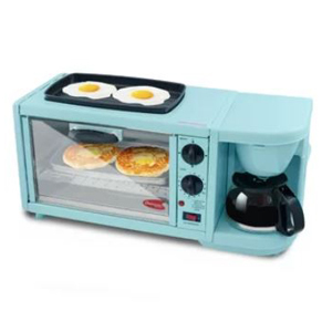 Blue breakfast station featuring a small grill, coffee maker/pot, and a toaster oven. photo