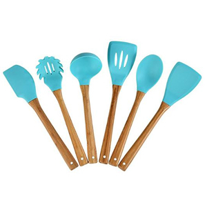 Six-piece kitchen utensil set with wooden handles and blue tops. photo