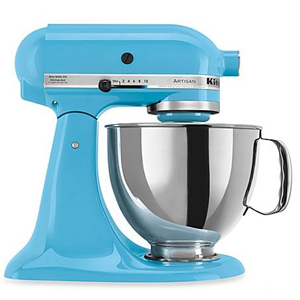 Crystal blue KitchenAid stand mixer with silver details. photo