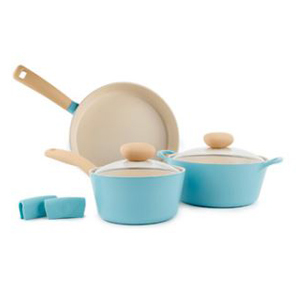 Five-piece blue cookware set with cream handles and insides featuring two pots, one pan, and silicone grippers. photo