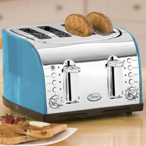 Blue and silver double toaster. photo