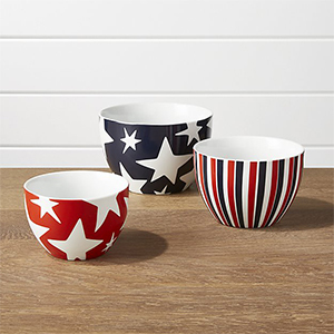 Three bowls with a mixture of red, white, and blue stripes and stars patterns photo
