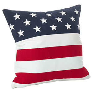 American flag printed on a throw pillow photo