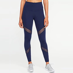 High-rise navy leggings with two mesh panels on each side photo