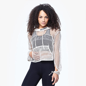 White mesh crop top hoodie from Ivy Park photo