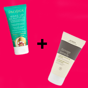 Pacifica Wake Up Beautiful Mask and Aveda Damage Remedy Intensive Restructuring Treatment on a pink background photo