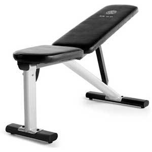 Black adjustable weight bench in an incline position from Walmart photo