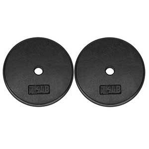 Pair of 7.5-pound cast-iron weight plates, standard size in black from Amazon photo
