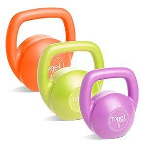 Colorful kettlebell set with 5, 10, and 15-pound weights in orange, lime green, and pink from Amazon photo