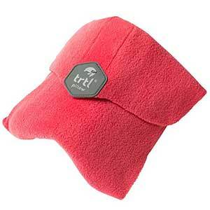Trtl travel pillow in coral with dark gray label photo