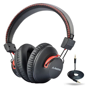 Black over-ear wireless headphones by Avantree with red accents. photo