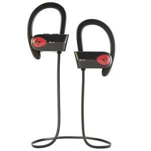 Black and red Bluephonic wireless earbuds. photo