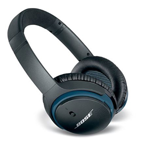 Black Bose over-ear wireless headphones with blue accents photo