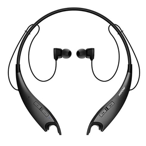 Black neckband headphones with controls on the side from Amazon photo
