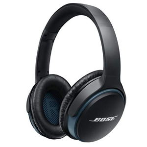 Black Bose over-ear wireless headphones with blue accents from Amazon photo